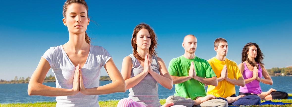 Yoga, Yoga groepsles, namasté, meditation, meditatie