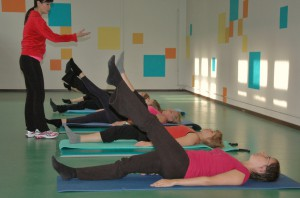 Pilates oefening op de Mat: one leg circle
